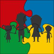 Puzzle icon family Stock Illustration