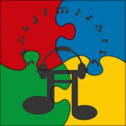 Puzzle icon music notes Stock Illustration