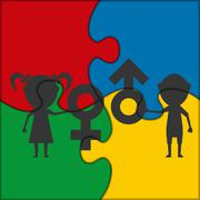 symbol male and female children puzzle icon - stock illustration