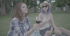 Woman drinking wine in the park Stock Footage