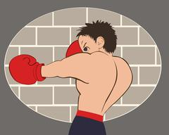 Young boxer in blue shorts trained against a brick wall - stock illustration