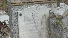 Destroyed the graves at the Jewish cemetery. Varna. Bulgaria. Stock Footage