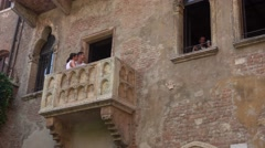 The famous balcony of Juliet in Verona from Romeo and Juliet Stock Footage