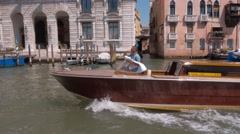 Water taxi in the Grand Canal of Venice Stock Footage