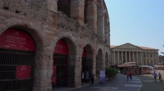 The front of famous Arena of Verona - open air theatre Stock Footage
