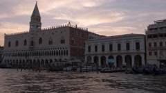 Doge´s Palace and Campanile Tower in the evening - stock footage