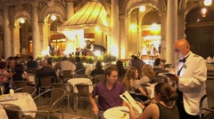 Exclusive street cafes on St Mark s Square - Piazza San Marco in Venice Stock Footage