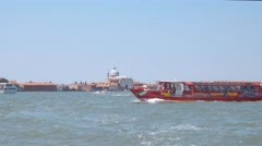 City sightseeing boat in Venice Italy Stock Footage