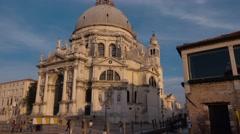 Salute Church in Venice called Santa Maria della Salute Stock Footage