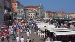 Famous Riva degli Schiavoni Walk in Venice - busy aera in Venice Stock Footage