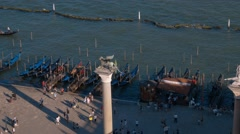 Aerial view over gondola service at St Mark´s Square Venice San Marco Stock Footage
