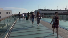 Modern Bridge over Grand Canal in Venice at Piazzale Roma Stock Footage