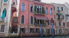 Beautiful mansions at the Grand Canal in Venice city center Stock Footage