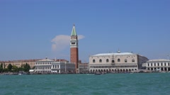 The historic city center of Venice with Campanile tower at San Marco Stock Footage