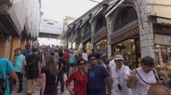 Famous Rialto Bridge in Venice under contruction Stock Footage