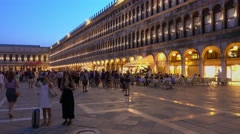 Beautiful St Marks Square by night Stock Footage