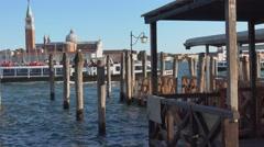 ACTV Waterbus at a pier in Venice Stock Footage