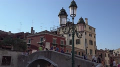 Street lantern in the historic district of Venice Stock Footage