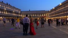 Amazing evening view over St. Mark´s Square in Venice Stock Footage