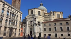 Ancient church in Venice - typical street view Stock Footage
