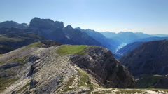 View on the valley and Auronzo di Cadore Stock Footage