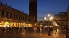 Wonderful St Mark´s Square Piazza San Marco in Venice at night Stock Footage