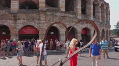 Verona sightseeing - World famous Arena of Verona Stock Footage