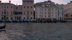 Old italian style mansions along the Grand Canal in Venice Stock Footage