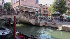 Romantic canals in the historic city center of Venice Stock Footage