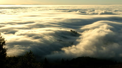 Sea of Fog rolling in from Pacific Ocean, MT Tamalpius State Park, CA Stock Footage