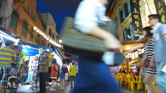 Tourists Singapore Chinatown busy bustle night market souvenirs bar restaurant  Stock Footage