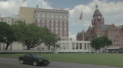 Dealey Plaza in Dallas seen from the grassy knoll Stock Footage