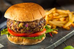 Vegan Homemade Portabello Mushroom Black Bean Burger Stock Photos