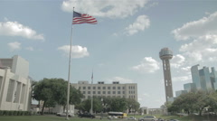 Dealey Plaza with US flag flying Stock Footage