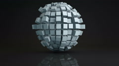 Ball cluster of cubes deforming 3D render loopable 4k UHD (3840x2160) Stock Footage