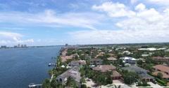 North Palm Beach CoastLine Dolly Homes Birds Eye View Stock Footage