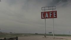Cafe sign in desert for roadside diner - stock footage