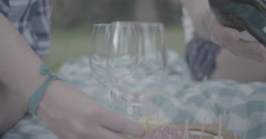 Pouring a glass of wine at a park picnic Stock Footage