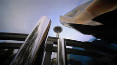 Space Needle, Experience Museum and Monorail, Seattle, WA Stock Footage