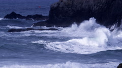 Waves crashing on rocks, Bandon, Oregon Stock Footage