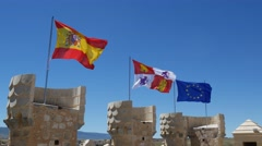 4k footage, flags of Spain, castilla y leon and european union weaving Stock Footage