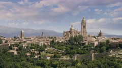 Time lapse view of old town of Segovia, Cathedral of Santa Mara de Segovia. Stock Footage