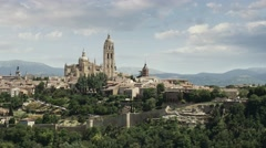 Panoramic view of Segovia, Cathedral of Santa Mara de Segovia. Castilla y Leon Stock Footage