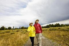 Japanese mother and daughter hiking in remote area Stock Photos