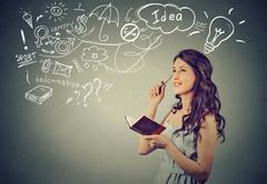 Beautiful girl thinking planning Stock Photos