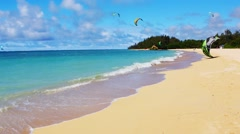 Kanaha Beach with Kiteboarders - Island of Maui, Hawaii Stock Footage