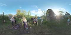 360 VR Family eating barbecue during the weekend at summer house. Ruza, Moscow Stock Footage