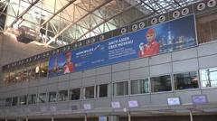 4k Terminal panning Aeroflot board International Airport Frankfurt Main Stock Footage