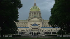 Harrisburg, Pennsylvania - State Capitol Building - Exterior Rack Focus Dawn Stock Footage