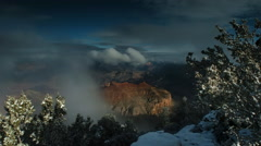 Clearing snow storm at Grand Canyon NP, AZ Stock Footage